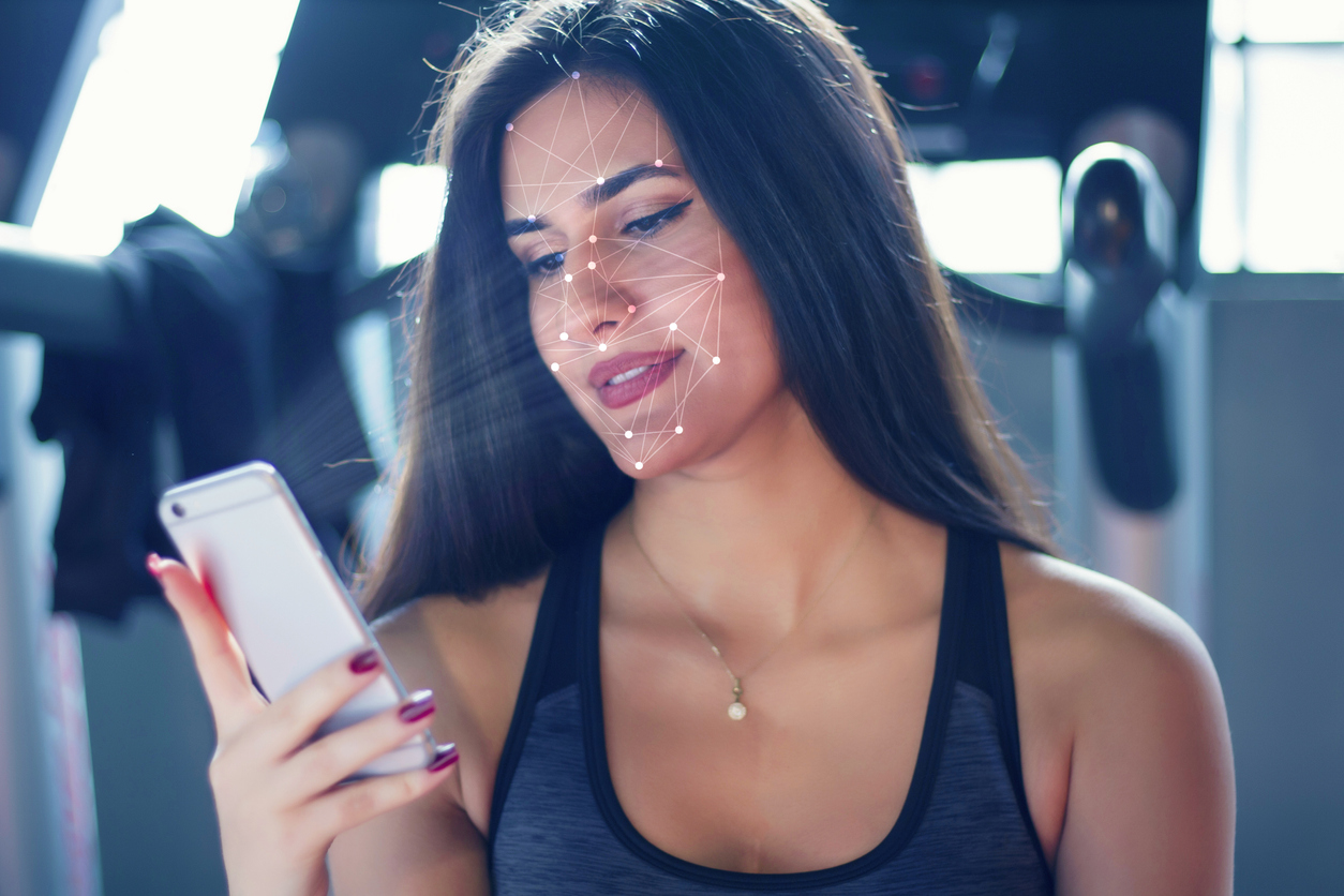 Face recognition. Sports concept.