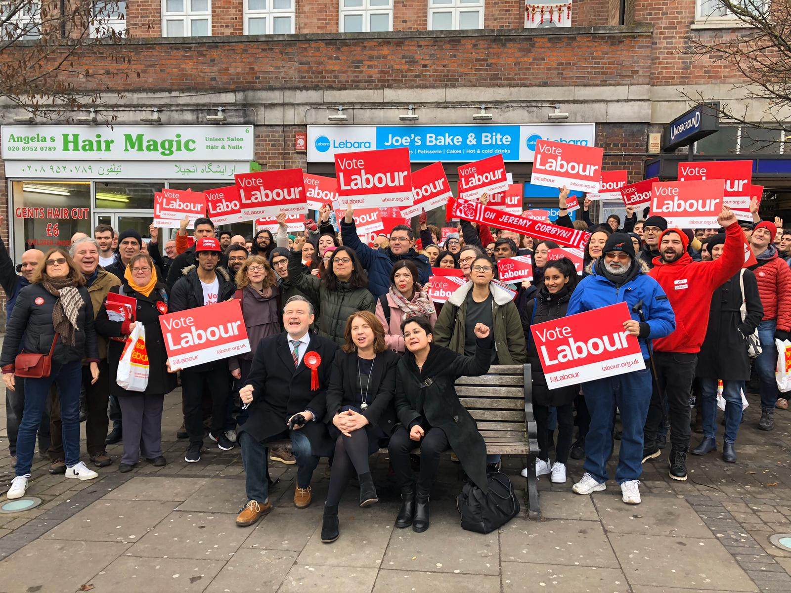 CAMPAIGN: Shami Chakrabarti (right, foreground) with Barry Gardiner (left, foreground) with Labour supporters in Harrow East