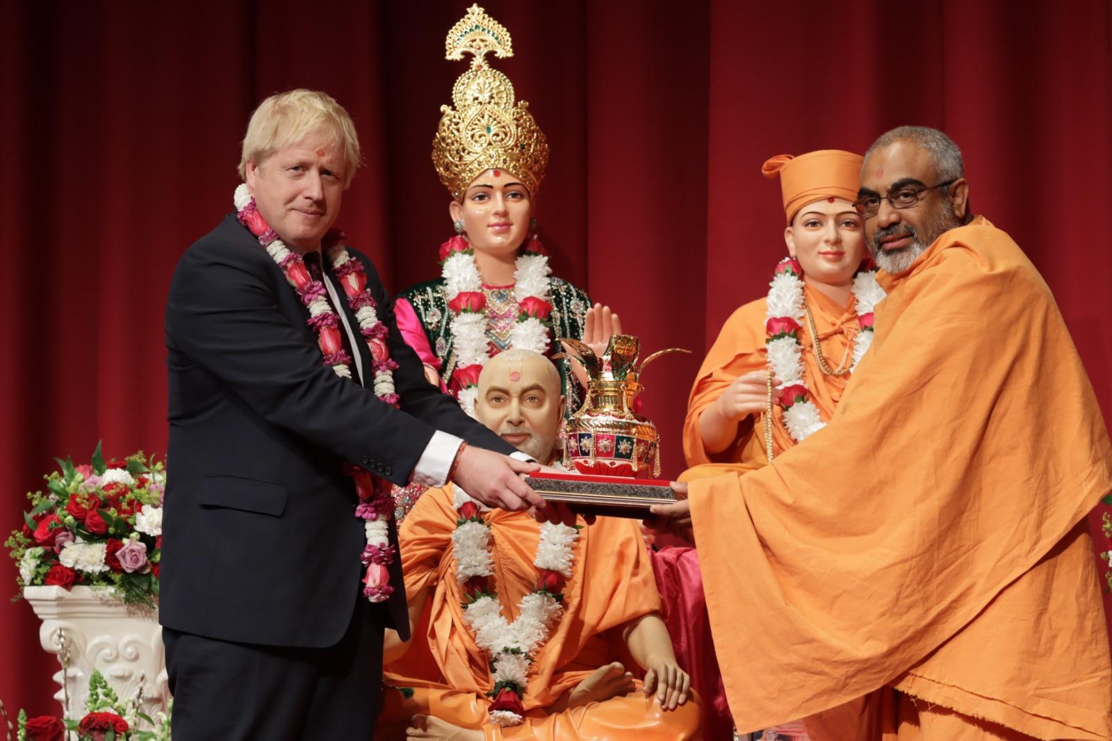 COMMUNITY SPIRIT: Boris Johnson at the BAPS Neasden Temple last weekend