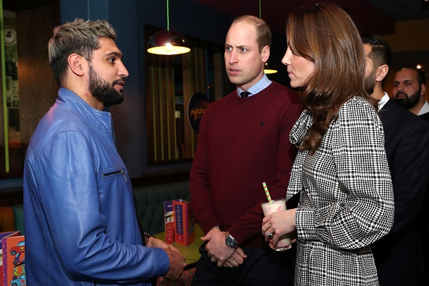 Britain's Prince William and Catherine, Duchess of Cambridge meet with Amir Khan during a visit to MyLahore restaurant in Bradford, Britain January 15, 2020 (Chris Jackson/Pool via REUTERS).