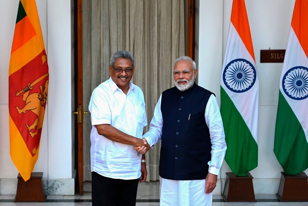 Sri Lanka's President Gotabaya Rajapaksa (L) shakes hands with India's Prime Minister Narendra Modi before a meeting at the Hyderabad House in New Delhi on November 29, 2019. (Photo by Money SHARMA / AFP) (Photo by MONEY SHARMA/AFP via Getty Images)