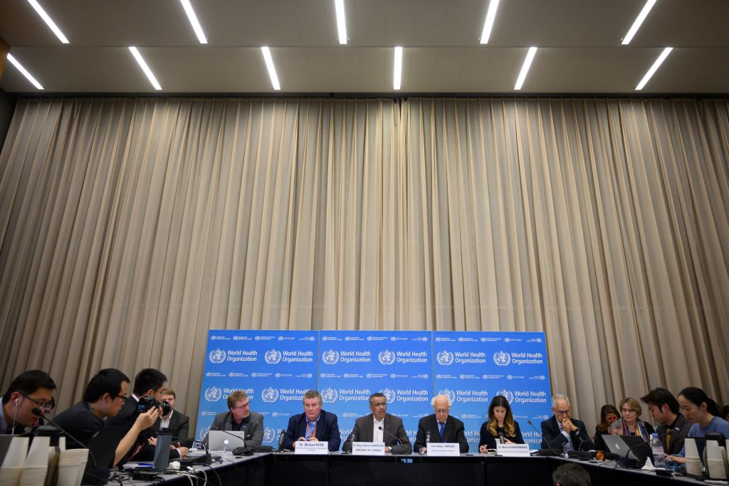 World Health Organization Director-General Tedros Adhanom Ghebreyesus speaks at a news conference in Geneva.  (Photo by FABRICE COFFRINI/AFP via Getty Images)