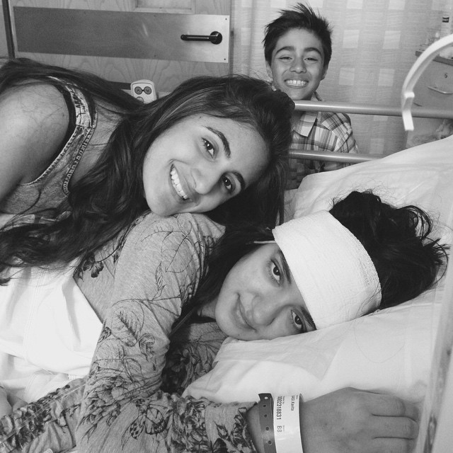 Kavita Basi (pictured with her children) spent seven weeks in hospital after suffering from a brain haemorrhage in 2015