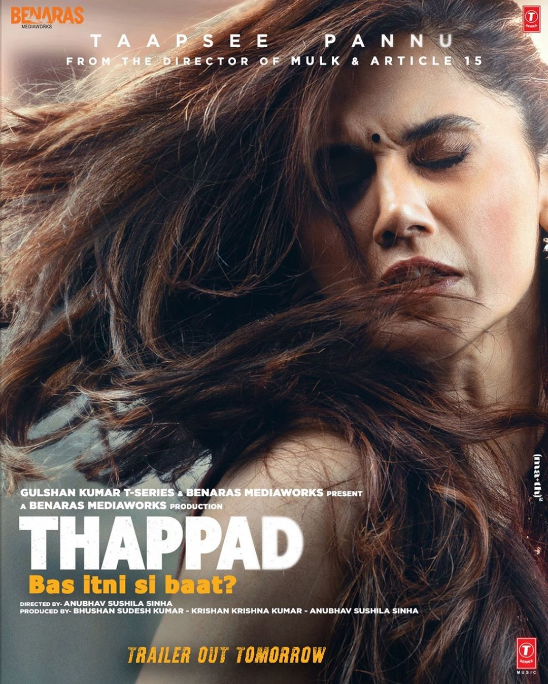 First poster of Thappad, featuring Taapsee Pannu