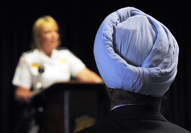It was a historic day on Tuesday as Singh's swearing-in coincided with the adoption of a new policy that allows law enforcement officers in nearly every single Harris County Constable's Office to wear articles of their faith while in uniform (Photo: JEWEL SAMAD/AFP/GettyImages).