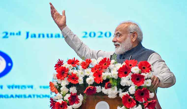 Prime Minister Narendra Modi speaks during the launch of five Defence Research and Development (DRDO) young scientists laboratories during his two-day visit in Karnataka, in Bengaluru | PTI