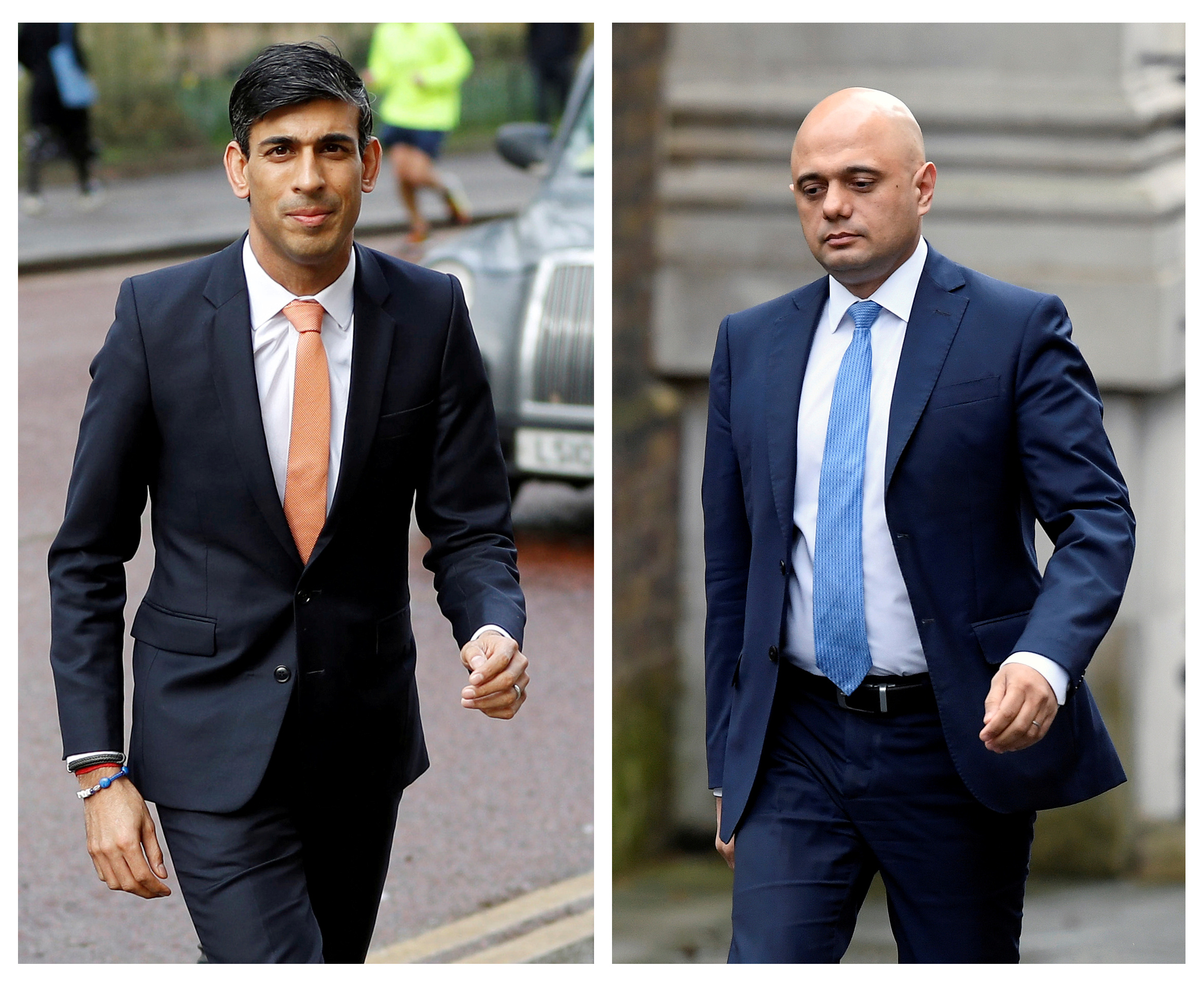 Britain's chancellor of the exchequer Rishi Sunak (L) at the Treasury in London and Sajid Javid ahead of the cabinet reshuffle at Downing Street in London on Thursday