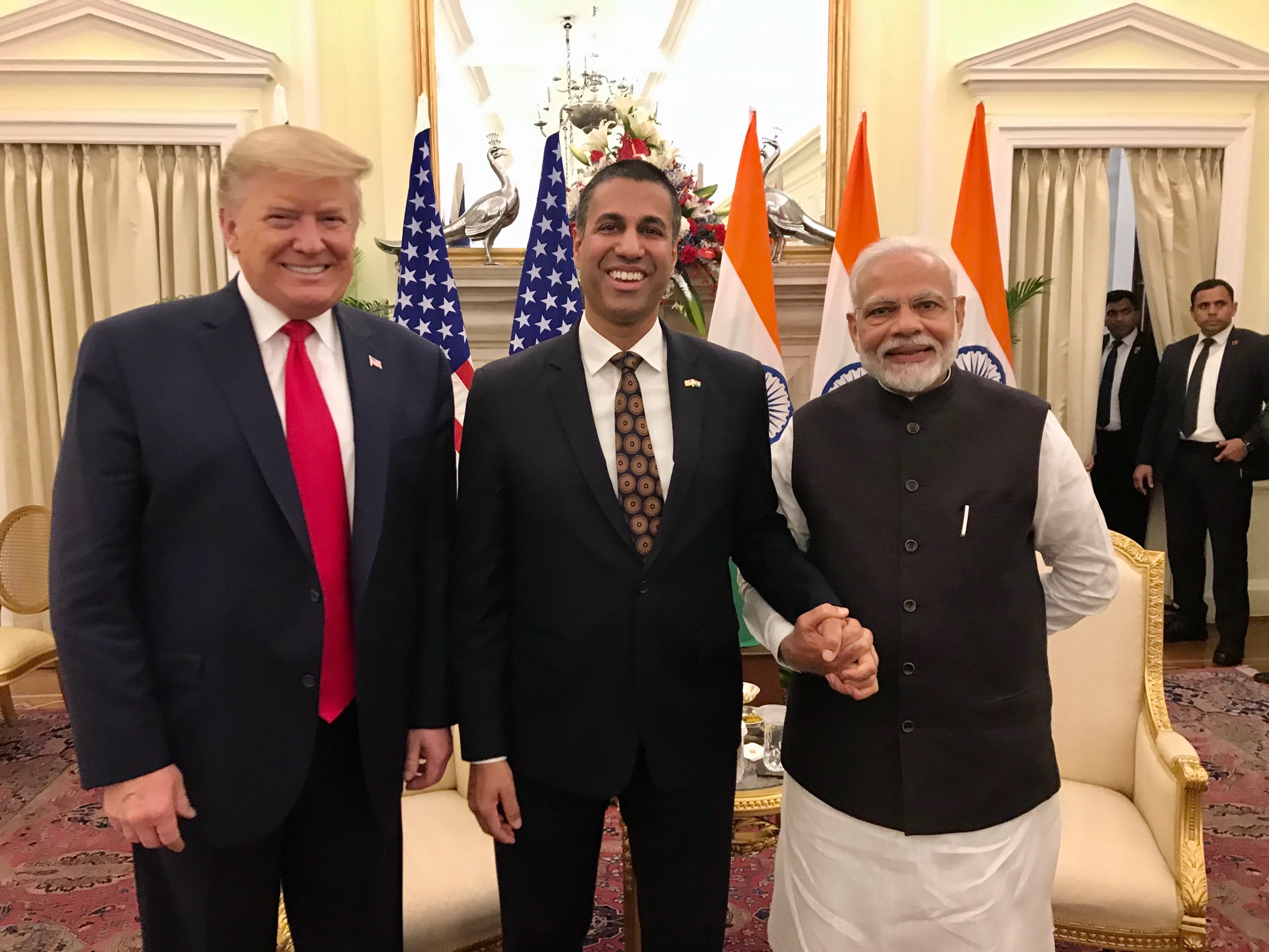 Ajit Pai with US president Donald Trump (L) and Indian prime minister Narendra Modi. (Photo: Twitter)