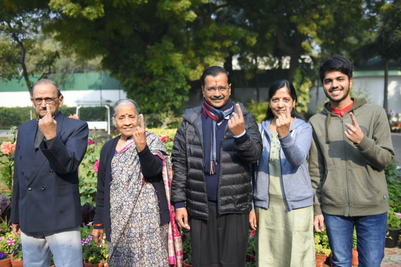 Arvind Kejriwal after exercising his franchise along with his family members in Delhi. Photo: Twitter