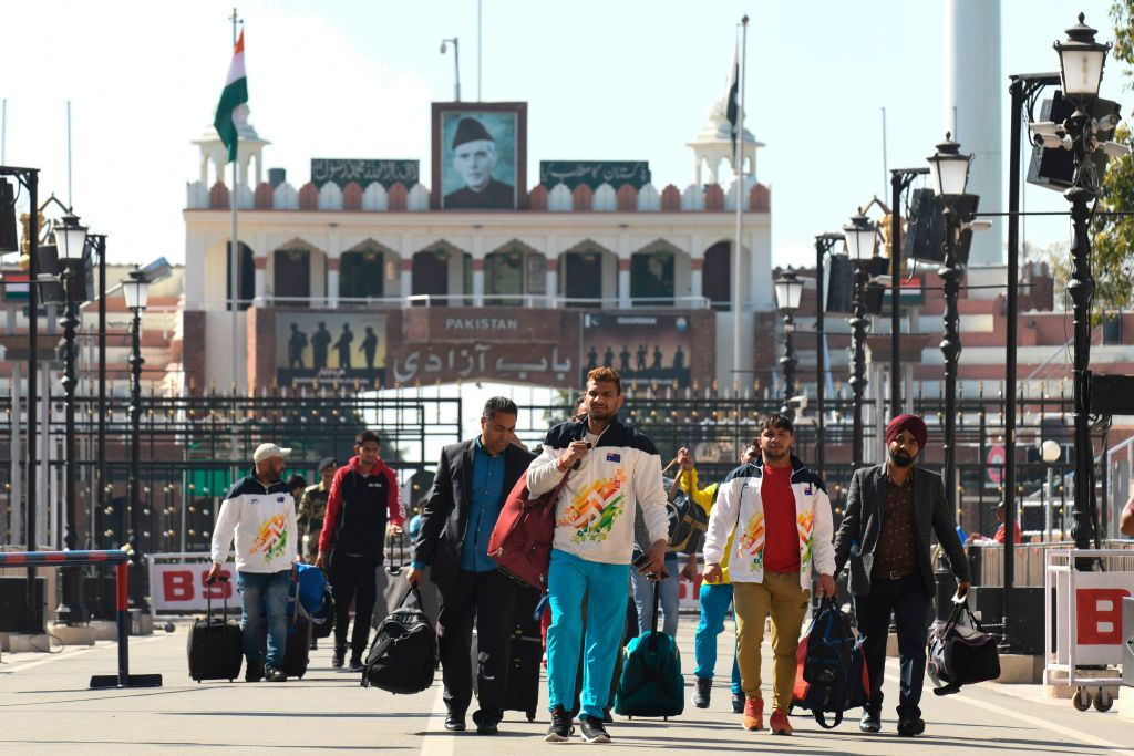 Members of an unauthorised Indian Kabaddi team return from Pakistan at the India-Pakistan Wagah Border Post, about 35 kms from Amritsar on February 17, 2020, after representing India in a tournament called Kabaddi World Cup. - Pakistan defeated in the final the unauthorised Indian Kabaddi team  43-41, local media reported. (Photo by NARINDER NANU / AFP)