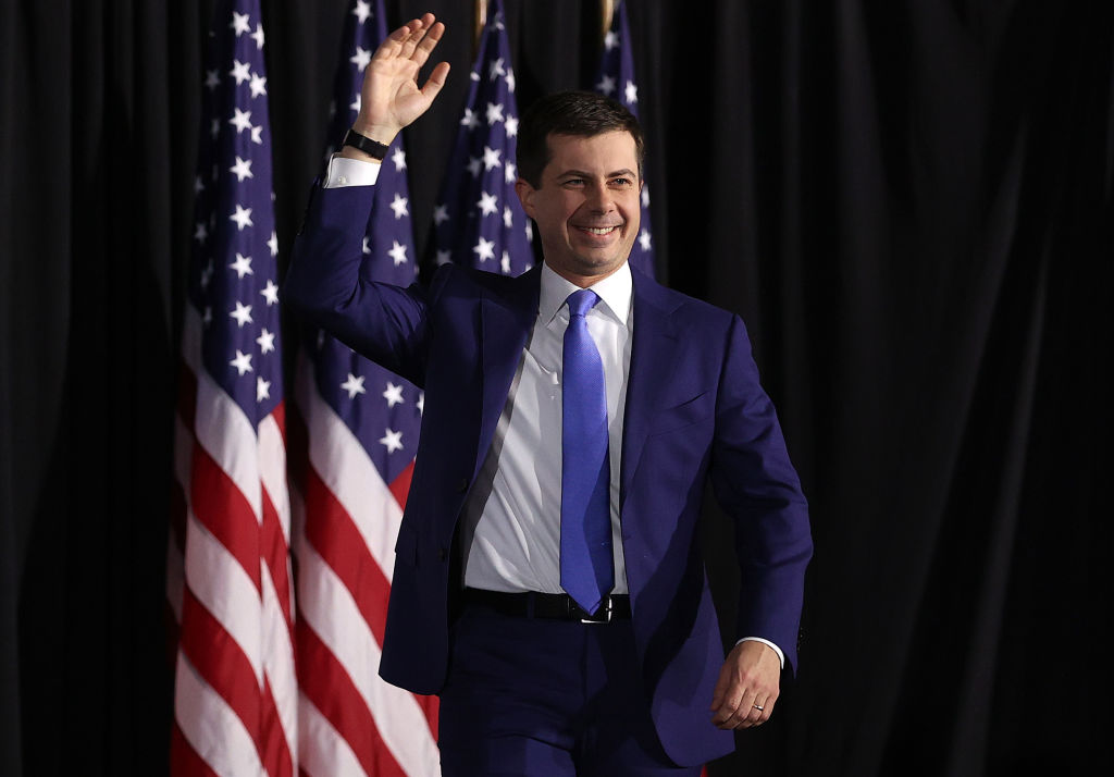 Democratic presidential candidate former South Bend, Indiana Mayor Pete Buttigieg arrives at a watch party at Drake University in Des Moines, Iowa. (Photo by Win McNamee/Getty Images)