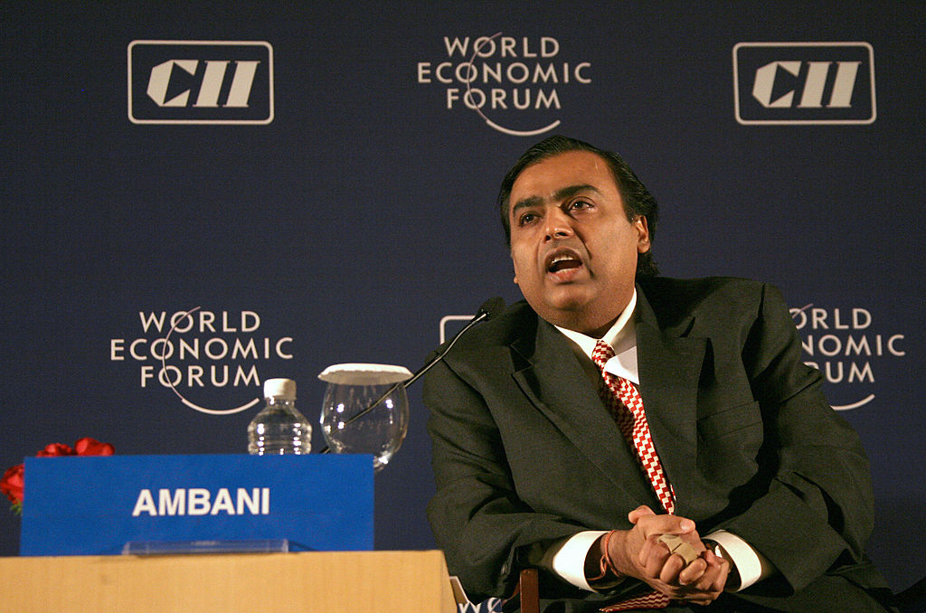 FILE PHOTO: Chairman and Managing Director of India's Reliance Industries Mukesh D. Ambani. (Photo MANPREET ROMANA/AFP via Getty Images)