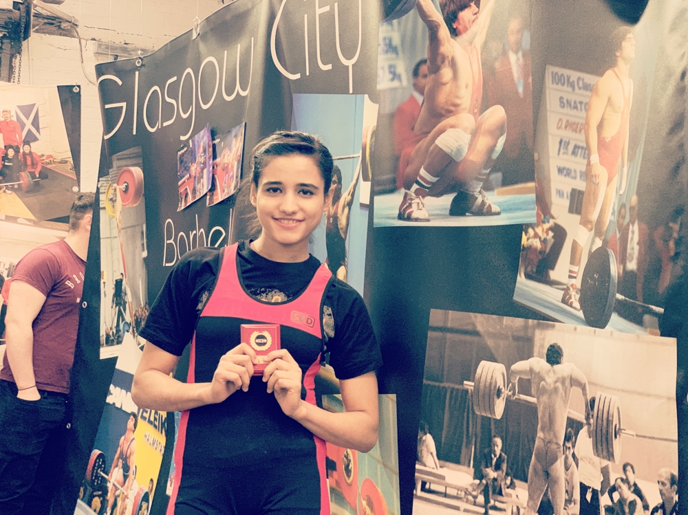 Pakistani weightlifter Rabia Shahzad, after winning a gold medal at the Glasgow Open Weightlifting Championship (Courtesy: Rabia Shahzad)