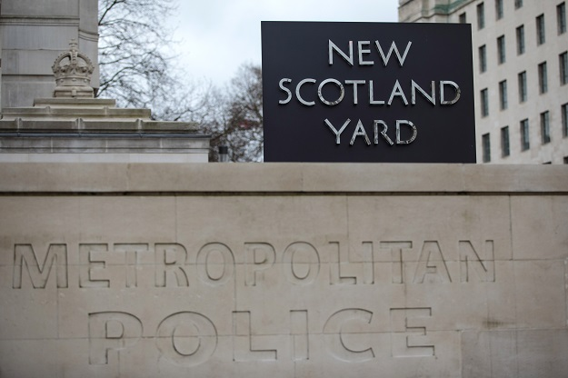 LONDON, ENGLAND - FEBRUARY 22: The New Scotland Yard logo is displayed on a revolving sign outside the Curtis Green Building, the new home of the Metropolitan Police on February 22, 2017 in London, England. Cressida Dick is to succeed Sir Bernard Hogan-Howe after being appointed the Metropolitan Police's first female commissioner. (Photo by Jack Taylor/Getty Images)
