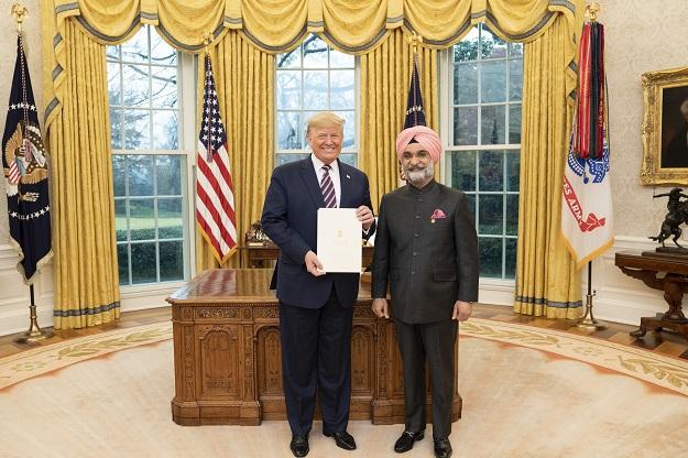 Taranjit Singh Sandhu with president Trump.