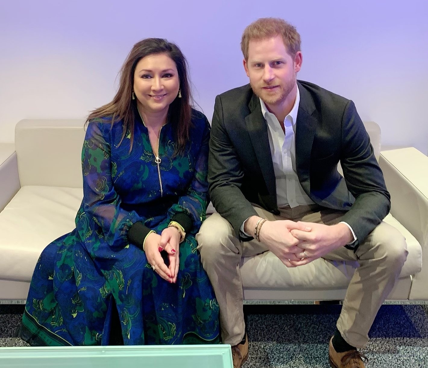 "Journalist Ayesha Hazarika tweeted this pic with the note: ""All done hosting #Travalyst conference with ""Harry."" Realise this looks like we're about to present a breakfast show. He was very lovely & I had the most brilliant time. Still having minor heart palpitations about the whole thing. Thanks for all your nice comments x""."