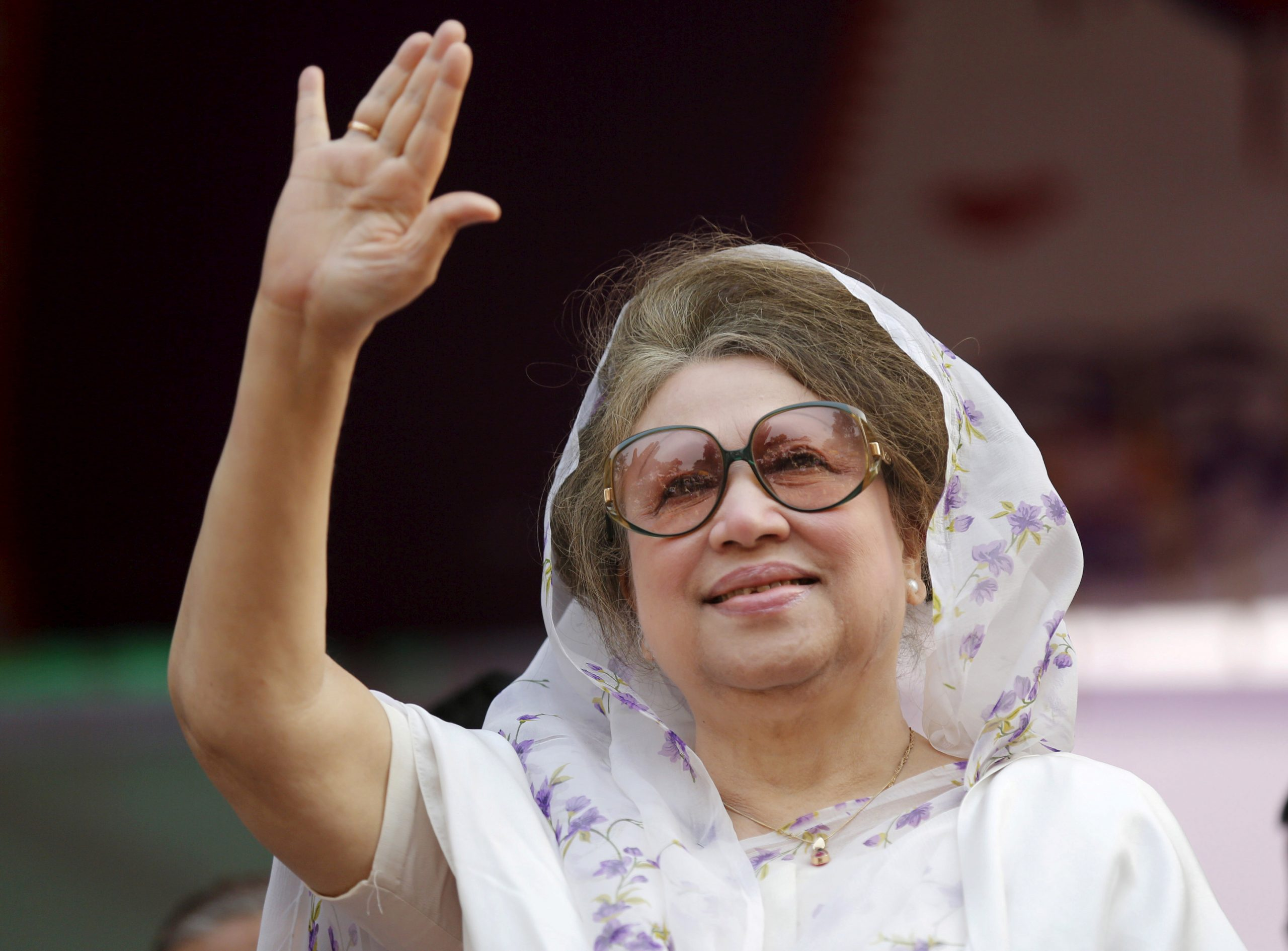 FILE PHOTO: Bangladesh Nationalist Party (BNP) Chairperson Begum Khaleda Zia waves to activists as she arrives for a rally in Dhaka. REUTERS/Andrew Biraj/File Photo