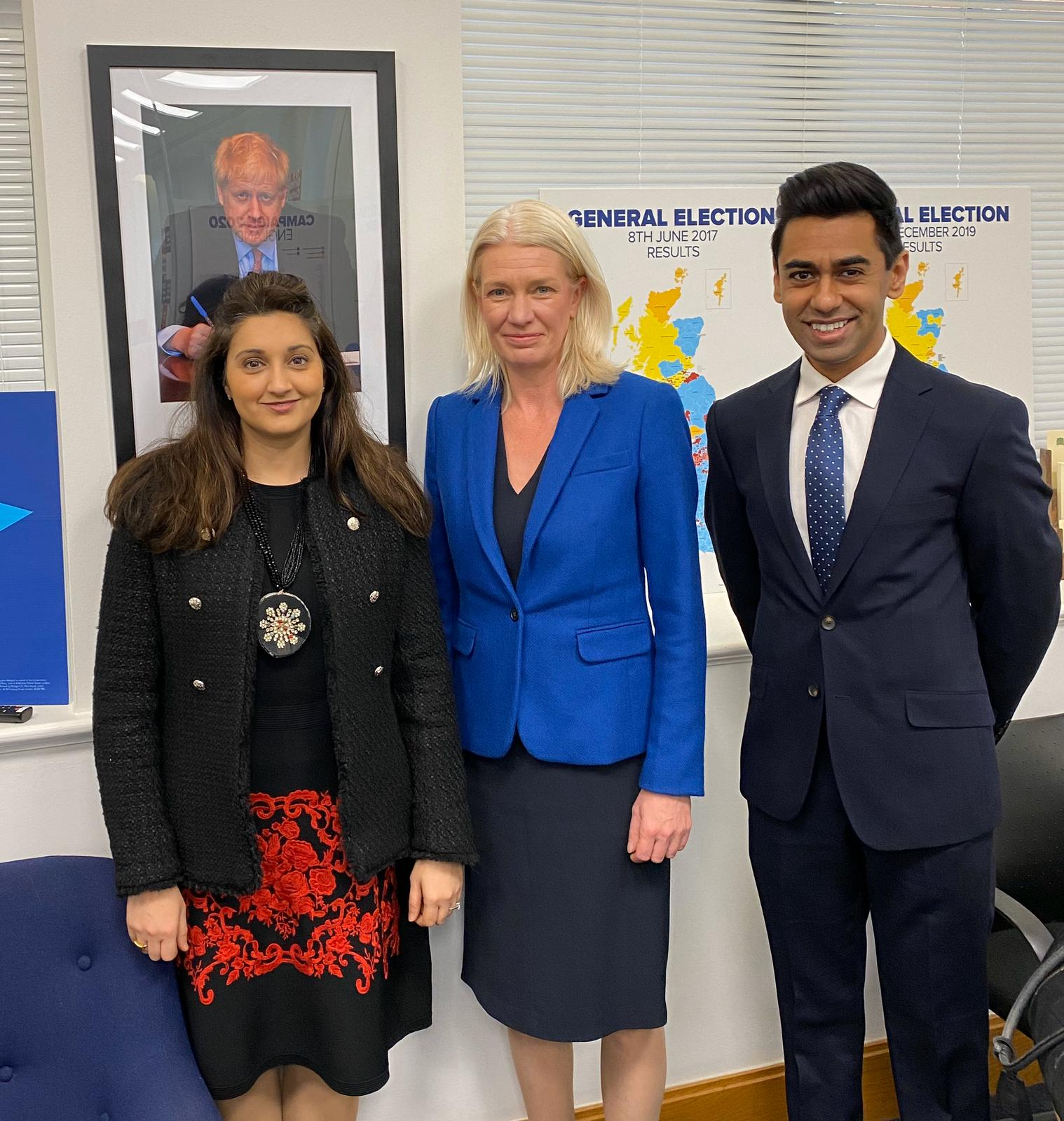 Conservative Party chairperson Amanda Milling MP (centre) with councillors Reena Ranger OBE and Ameet Jogia.