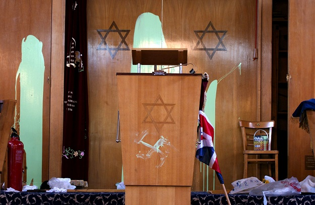 Race hate crimes accounted for around three quarters of offences (78,991) and rose by 11 per cent on the previous year. Incidents based on the victim's religion rose three per cent to 8,566 (Photo of Finsbury Park Synagogue in London by Sion Touhig/Getty Images).