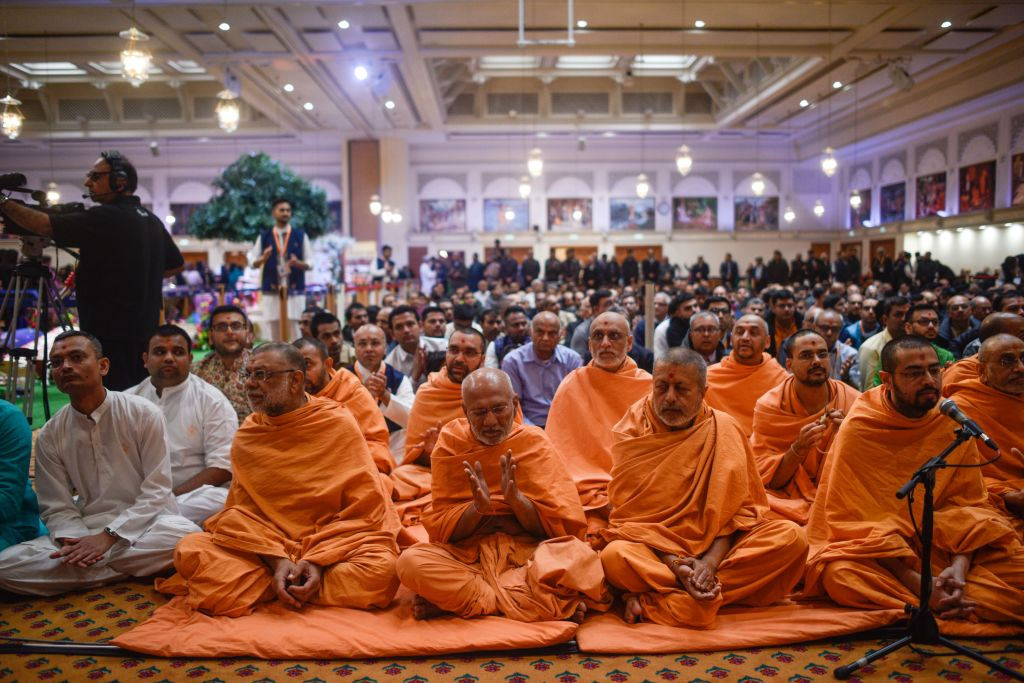 Diwali is celebrated at BAPS Shri Swaminarayan Mandir. (Photo by Peter Summers/Getty Images)