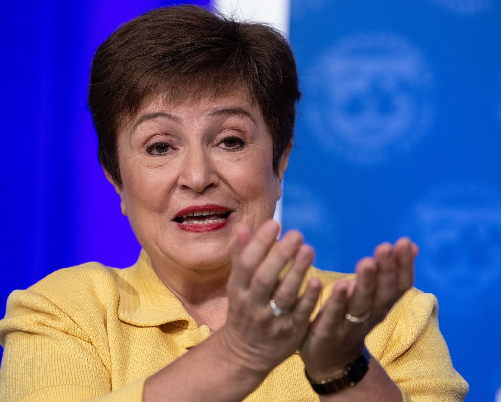 FILE PHOTO: IMF Managing Director Kristalina Georgieva speaks at a press briefing on COVID-19 in Washington. (Photo by NICHOLAS KAMM/AFP via Getty Images)