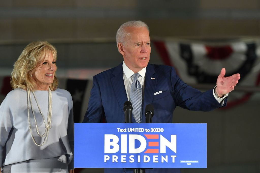 Democratic presidential hopeful former Vice President Joe Biden speaks, flanked by his wife Jill Biden, at the National Constitution Center in Philadelphia, Pennsylvania on March 10, 2020. (Photo by MANDEL NGAN/AFP via Getty Images)