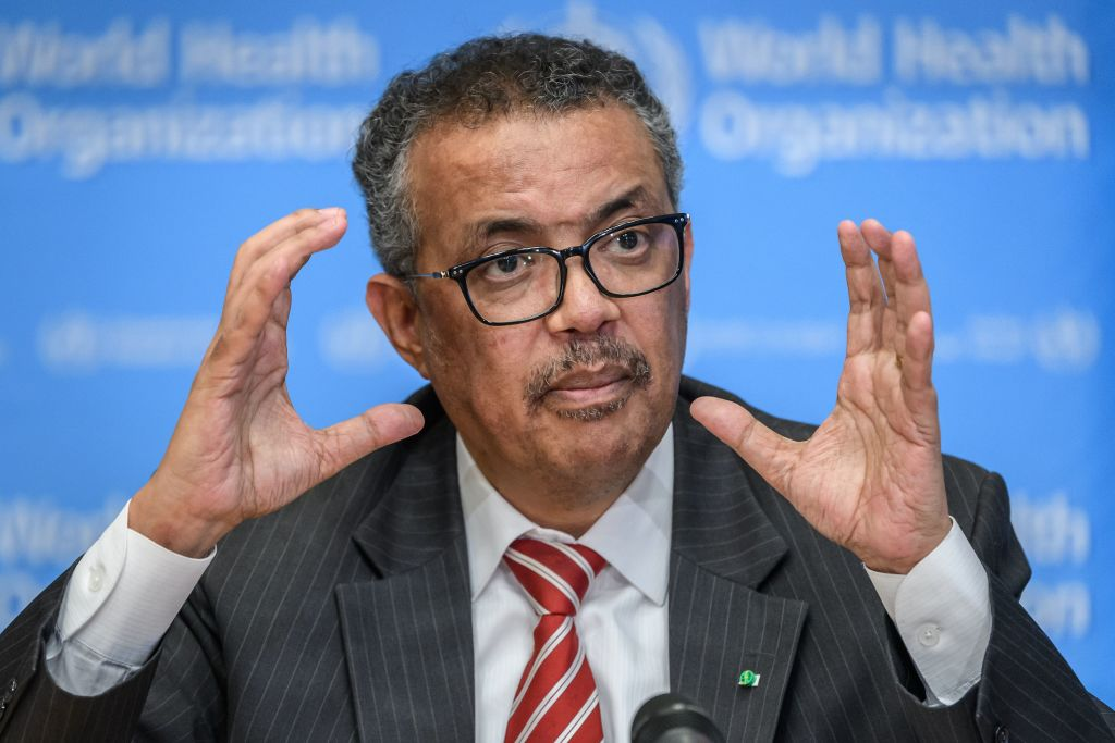 World Health Organization (WHO) Director-General Tedros Adhanom Ghebreyesus talks during a daily press briefing on COVID-19 virus at the WHO headquaters in Geneva on March 11, 2020. (Photo by FABRICE COFFRINI/AFP via Getty Images)