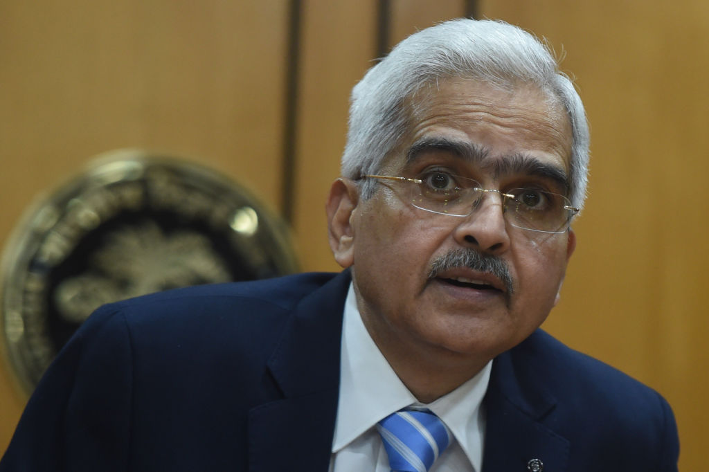 FILE PHOTO: Governor of the Reserve Bank of India (RBI) Shaktikanta Das speaks during a press conference in Mumbai. (Photo by PUNIT PARANJPE/AFP via Getty Images)