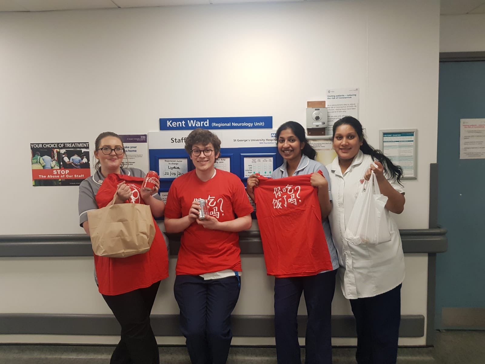 St George's Hospital staff receive takeaway food from the Critical NHS scheme (Photo credit: Critical NHS/Twitter)