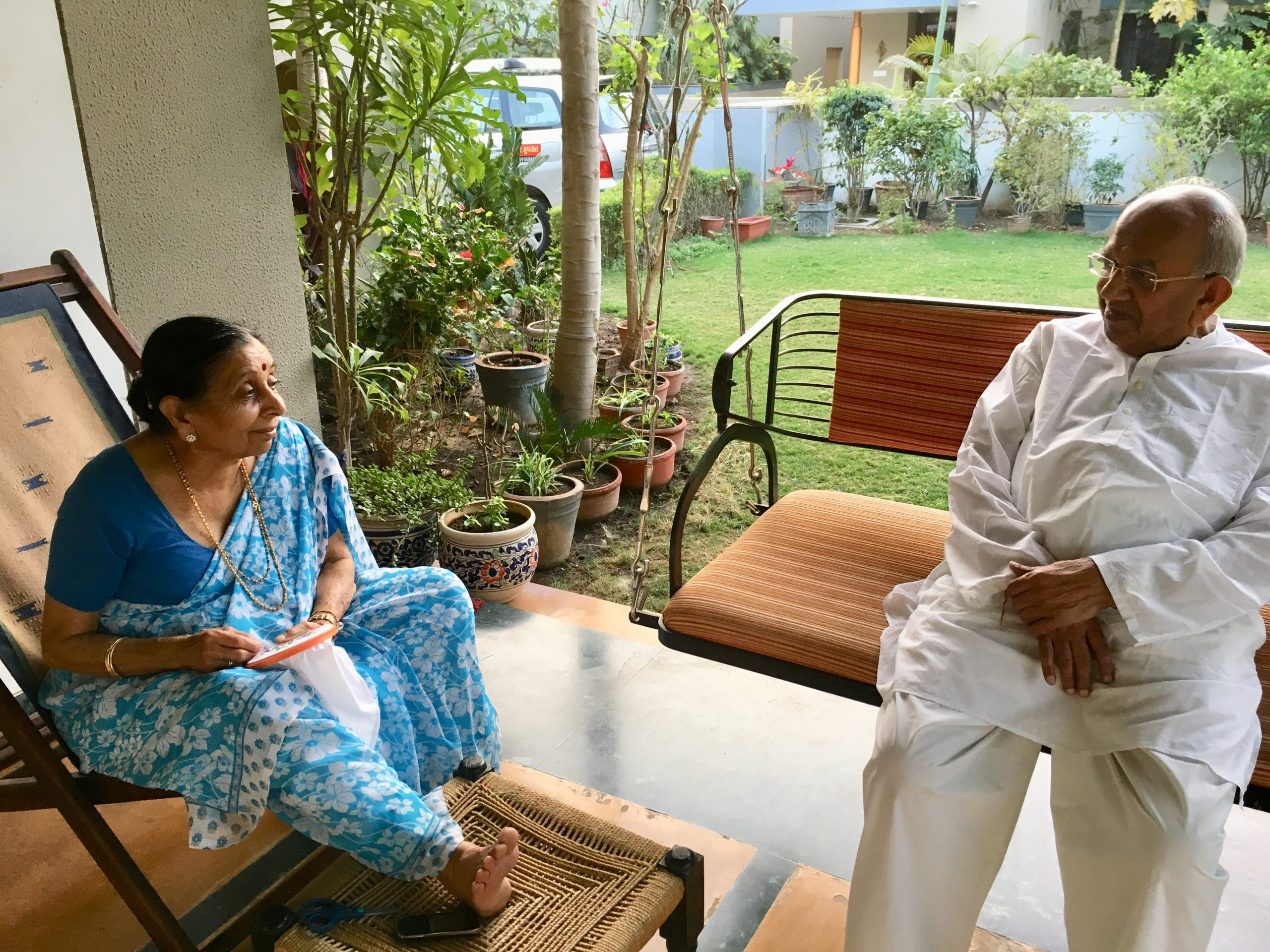 Mr Solanki with his wife Parvatiben.