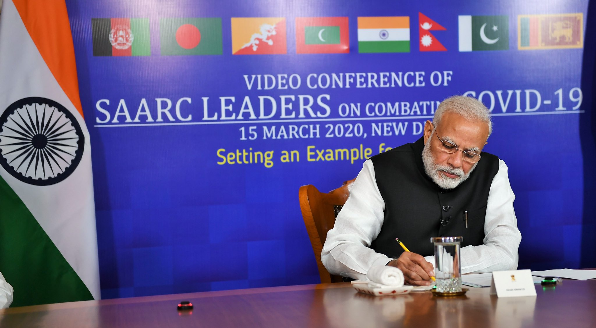 FILE PHOTO: Indian prime minister Narendra Modi participating in the video conference with SAARC Leaders last week (Photo: Twitter)