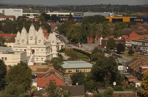 Events, school visits and religious assemblies at the BAPS Shri Swaminarayan Mandir in Neasden, north London, have been cancelled or postponed until further notice, it announced last week (Photo: Oli Scarff/Getty Images).