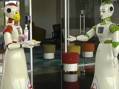 The robots could be programmed to analyse people's body temperatures, said their makers.