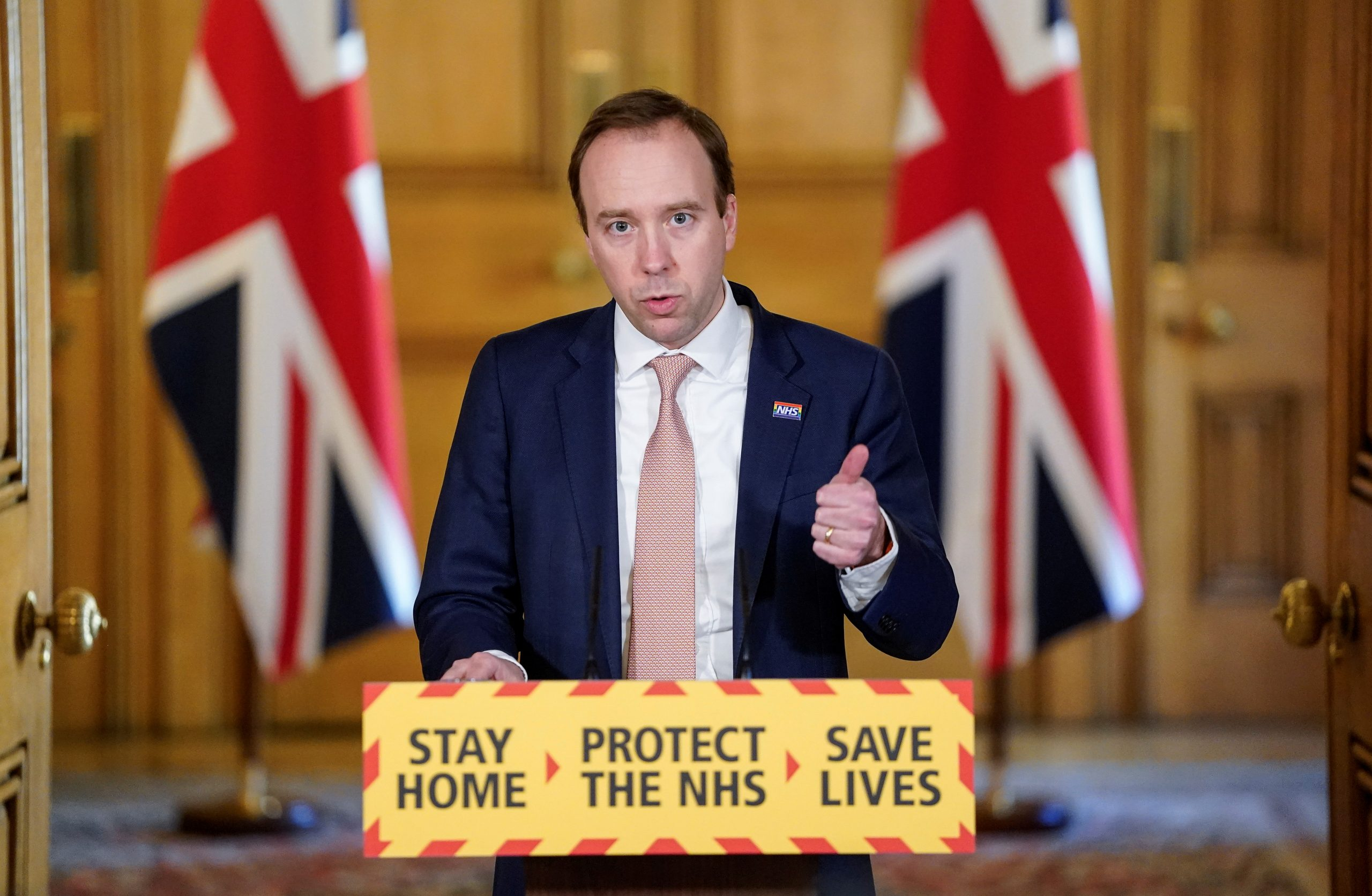 Britain's Health Secretary Matt Hancock speaks during a daily digital news conference on the coronavirus disease (COVID-19) outbreak, at 10 Downing Street.