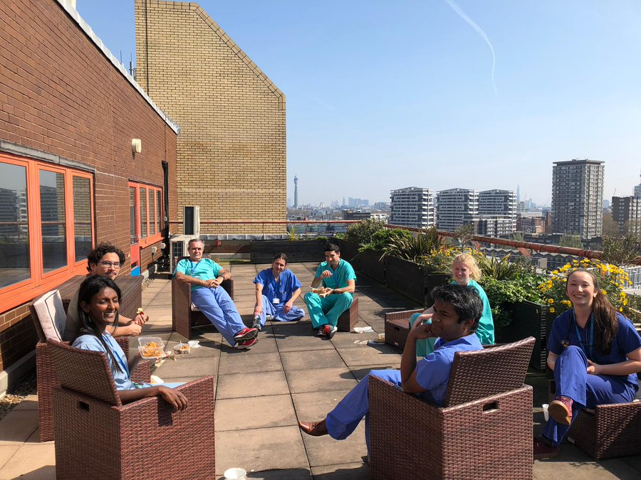 Healthcare professionals at St Mary's Hospital enjoy a Dishoom meal.