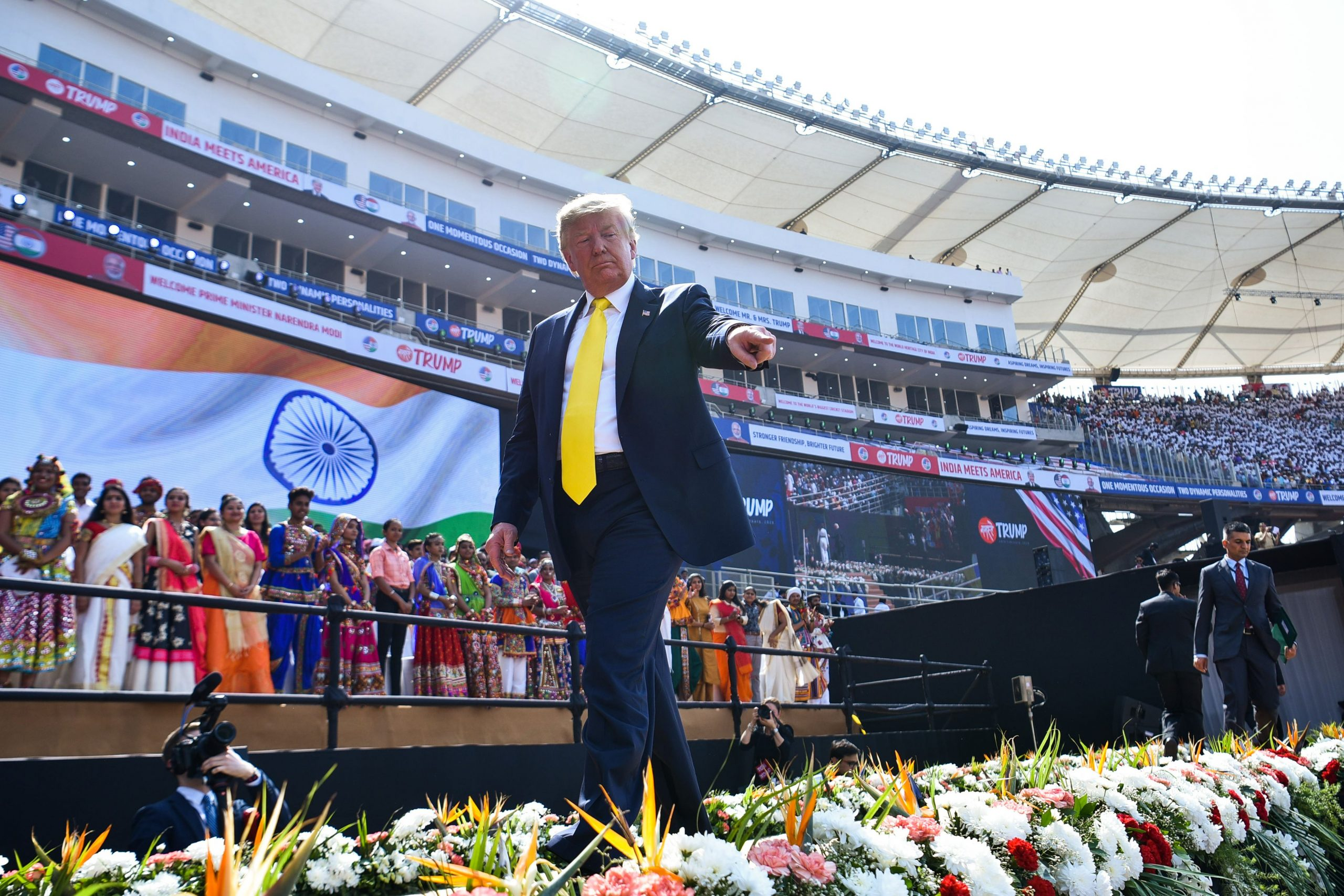 US President Donald Trump leaves after attending 'Namaste Trump' rally at Sardar Patel Stadium in Motera, on the outskirts of Ahmedabad, on February 24, 2020. (Photo by Mandel NGAN / AFP)