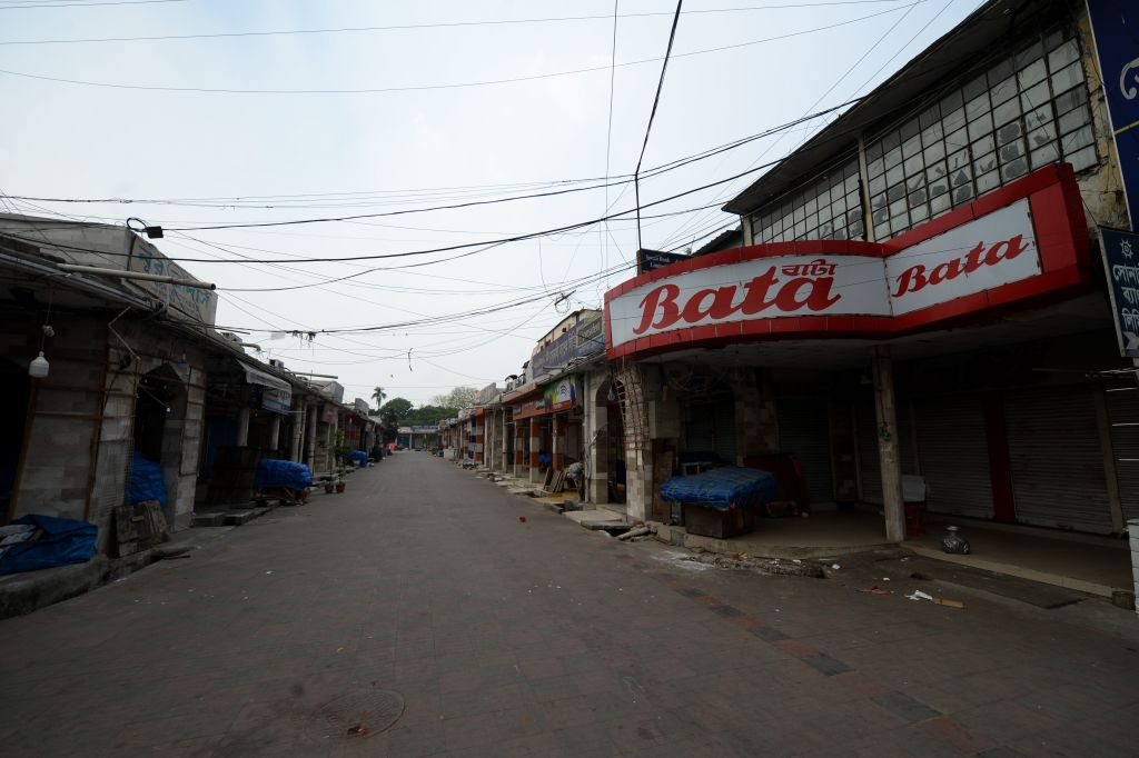 The Dhaka New Market is seen deserted following the authorities order to shut down as a preventative measure against the spread of the COVID-19 coronavirus, in Dhaka  (Photo by MUNIR UZ ZAMAN/AFP via Getty Images)