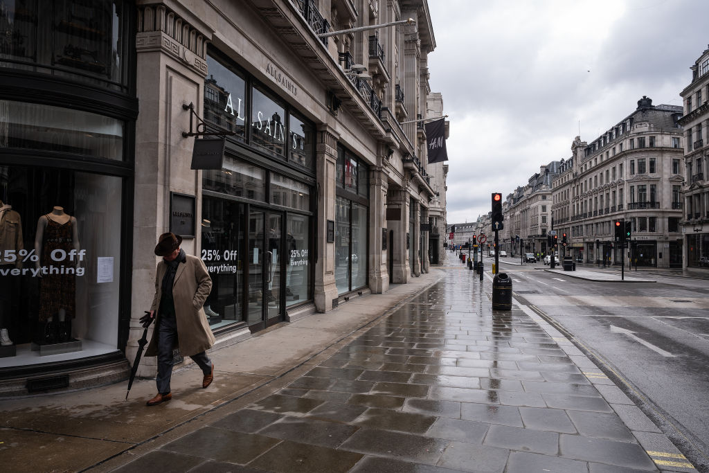 File photo: A man walks up a deserted Regent Street in London. (Photo: Leon Neal/Getty Images)