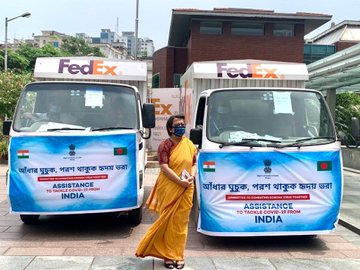 Riva Ganguly Das, High Commissioner of India to Bangladesh, dispatched second tranche of assistance to Central Medical Store Depot, Bangladesh (Photo: Twitter)