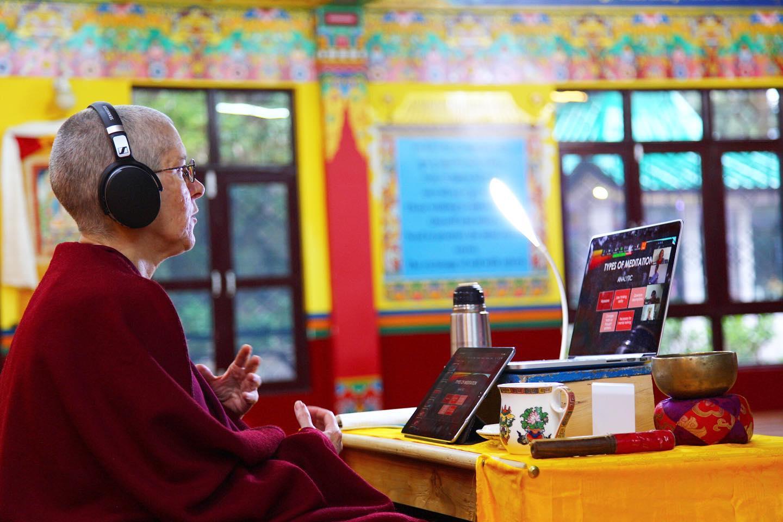 Tenzin Drolma holds an online session.. (pics courtesy of Tushita Meditation Centre)