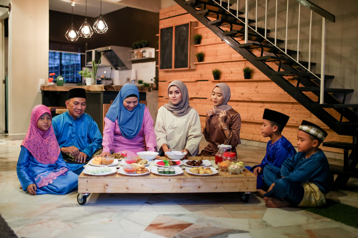 Family gathering and eat together while iftar during ramadhan in Malaysia