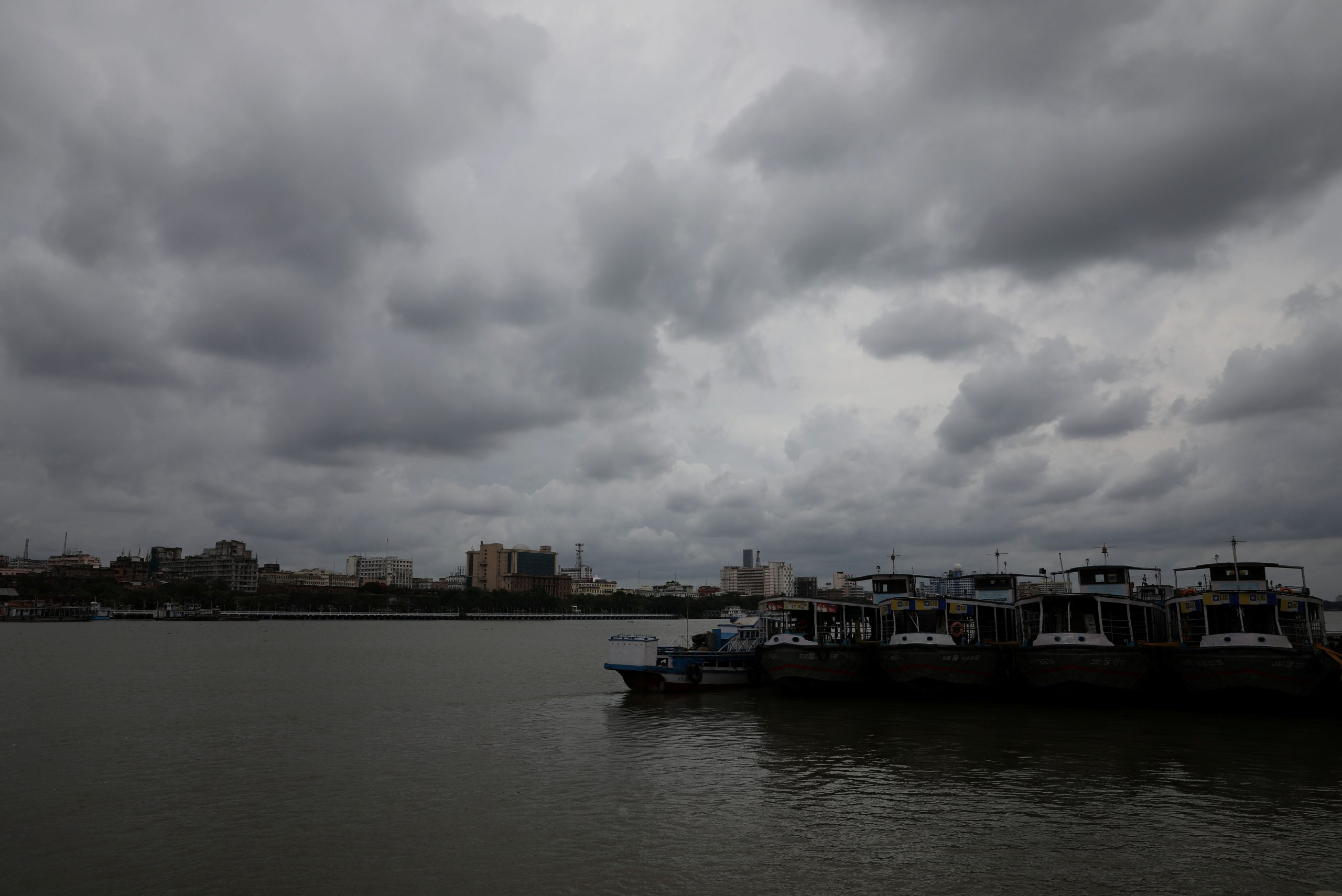 Clouds cover the skies over the river Ganges ahead of Cyclone Amphan, in Kolkata, India, May 19, 2020. REUTERS/Rupak De Chowdhuri