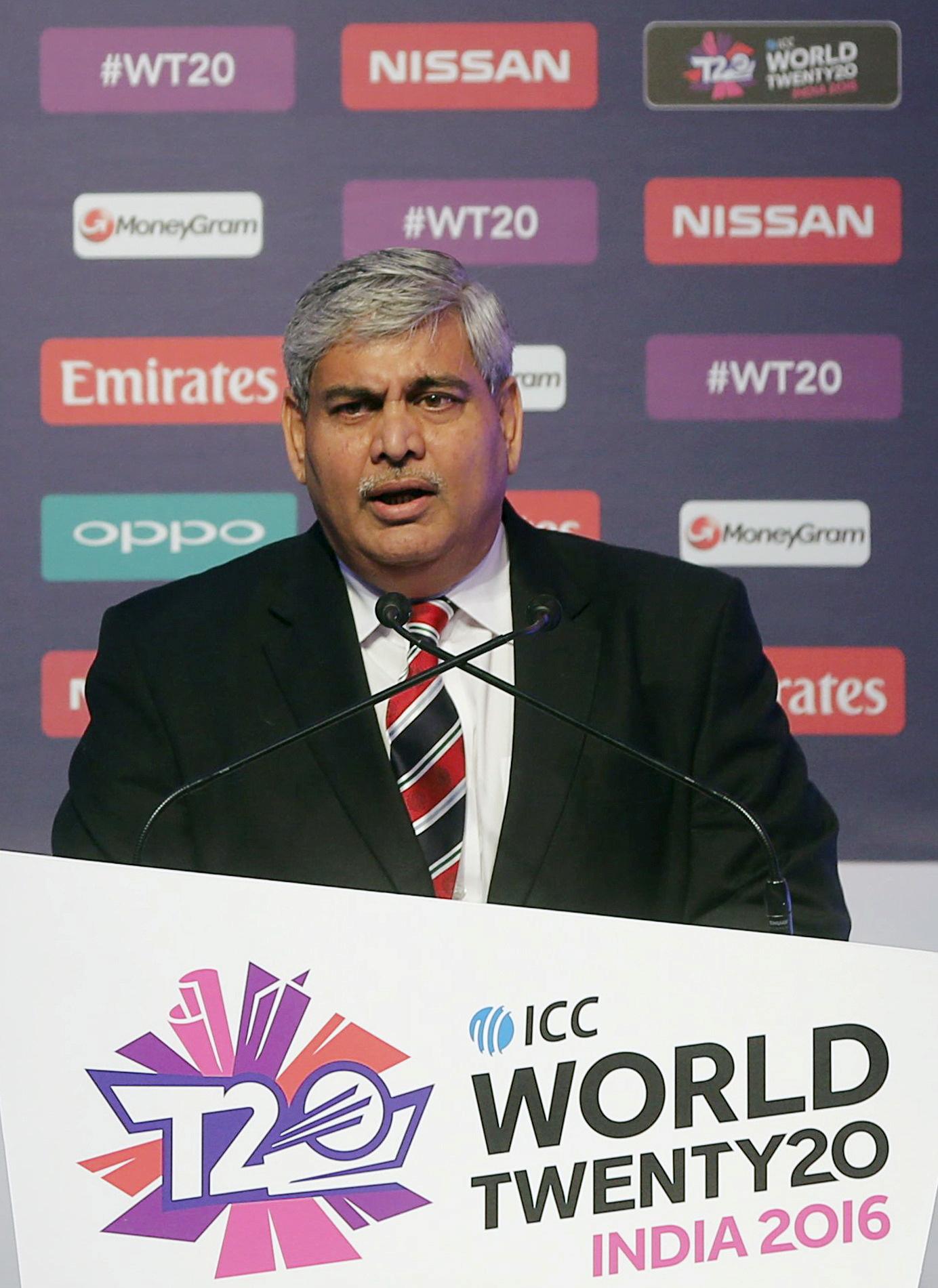 FILE PHOTO: Shashank Manohar, Chairman of International Cricket Council (ICC), speaks during a ceremony of World Twenty20 in Mumbai, India, December 11, 2015. REUTERS/Shailesh Andrade/File Photo