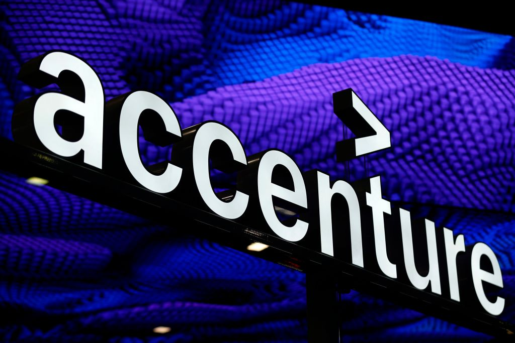 FILE PHOTO: The Accenture logo is displayed at the Mobile World Congress (MWC) in Barcelona on February 26, 2019.  (PAU BARRENA/AFP via Getty Images)