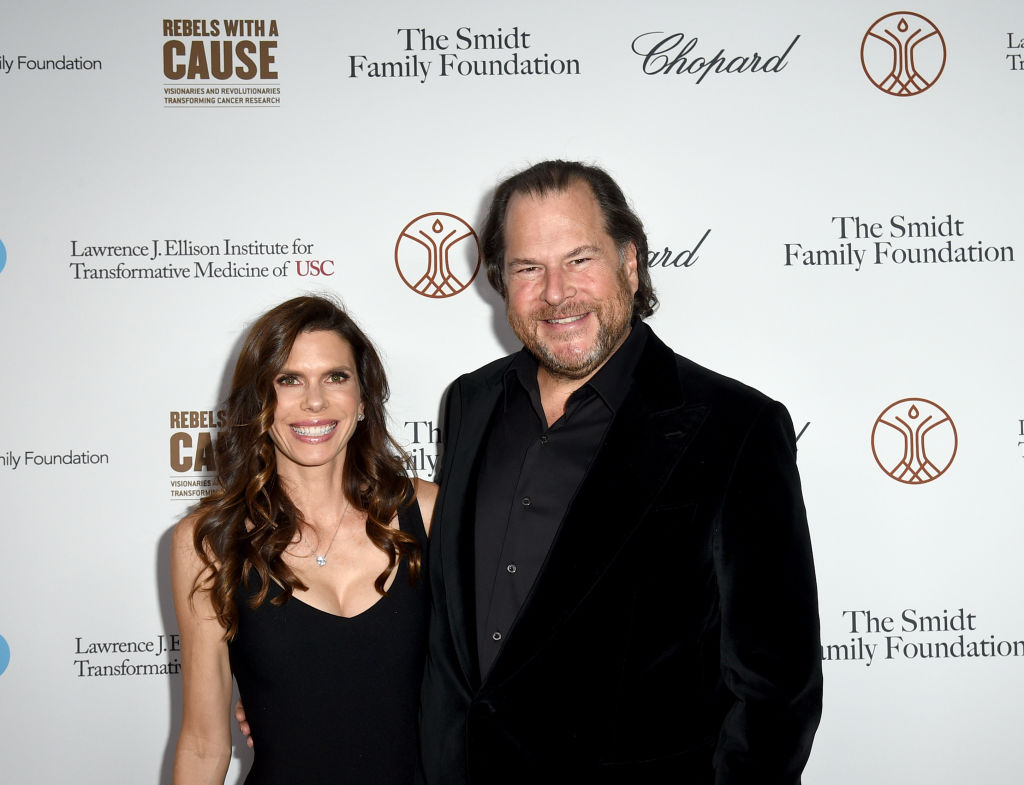 FILE PHOTO: Marc Benoiff and Lynne Benioff attend an event in Santa Monica, California. (Photo by Joshua Blanchard/Getty Images)
