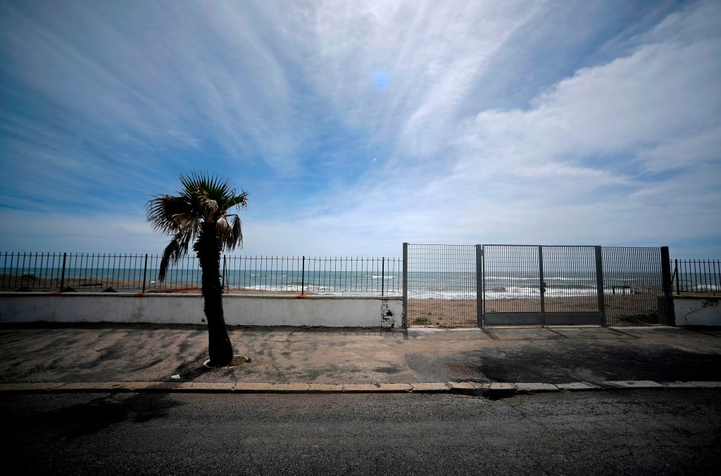 A view of the deserted Ostia beach on the outskirts of Rome on May 1, 2020. (Photo: FILIPPO MONTEFORTE/AFP via Getty Images)
