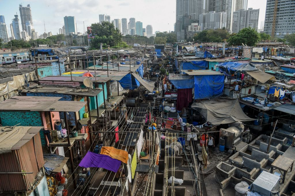 A general view shows the Dhobi Ghat, an open air laundry facility where labourers clean clothes and linens, in Mumbai on May 8, 2020. (Photo by PUNIT PARANJPE/AFP via Getty Images)