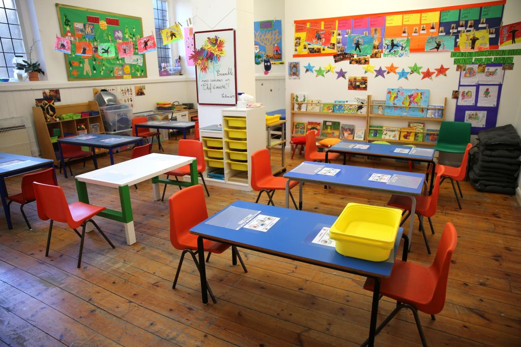 A classroom is pictured, rearranged to provide a teaching environment safe from coronavirus for pupils and teachers at La Petite Ecole Bilingue at Kentish Town, north London, on May 20, 2020. (Photo: ISABEL INFANTES/AFP via Getty Images)