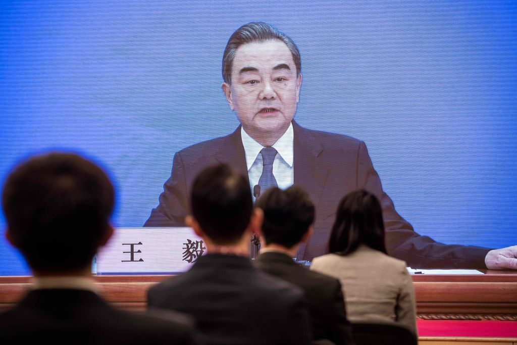 Chinese Foreign Minister Wang Yi speaks during his online video link press conference during the National People's Congress at the media centre in Beijing on May 24, 2020. (Photo: NICOLAS ASFOURI/AFP via Getty Images)