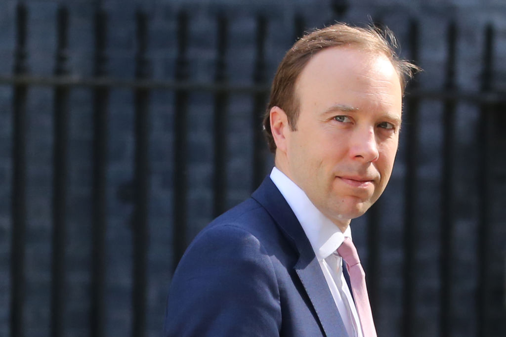 Health Secretary Matt Hancock leaves Downing street after the daily Covid-19 briefing in central London on May 27, 2020. (Photo: ISABEL INFANTES/AFP via Getty Images)